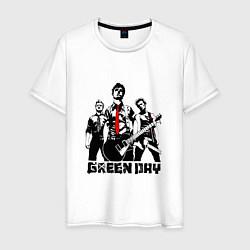 Футболка хлопковая мужская Группа Green Day цвета белый — фото 1