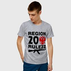 Мужская хлопковая футболка с принтом Region 20 Rulezz, цвет: меланж, артикул: 10013680900001 — фото 2