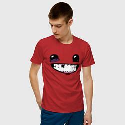 Футболка хлопковая мужская Super Meat Boy: Face цвета красный — фото 2