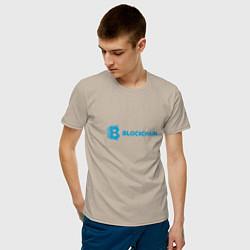 Футболка хлопковая мужская Blockchain цвета миндальный — фото 2