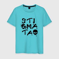Футболка хлопковая мужская Stigmata цвета бирюзовый — фото 1