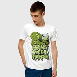 Мужская хлопковая футболка с принтом Bring Me The Horizon: Green Girl, цвет: белый, артикул: 10014268100001 — фото 2