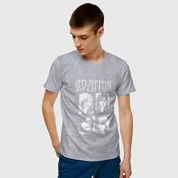 Футболка хлопковая мужская Led Zeppelin Band цвета меланж — фото 2