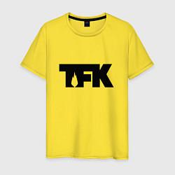 Футболка хлопковая мужская TFK: Black Logo цвета желтый — фото 1