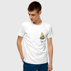 Футболка хлопковая мужская Попугай в кармане цвета белый — фото 2