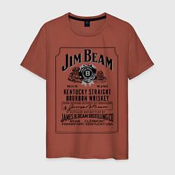 Мужская хлопковая футболка с принтом Jim Beam whiskey, цвет: кирпичный, артикул: 10015273600001 — фото 1