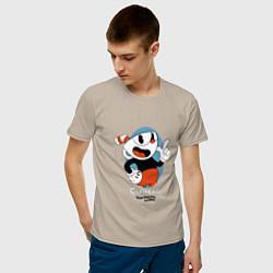 Футболка хлопковая мужская Cuphead Mugman цвета миндальный — фото 2