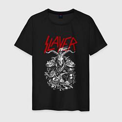 Футболка хлопковая мужская Slayer: Devil Goat цвета черный — фото 1