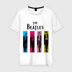 Футболка хлопковая мужская Walking Beatles цвета белый — фото 1