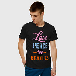Футболка хлопковая мужская Love peace the Beatles цвета черный — фото 2