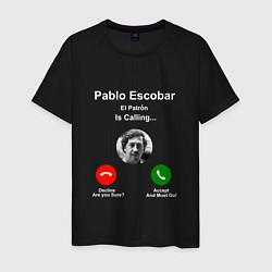 Футболка хлопковая мужская Escobar is calling цвета черный — фото 1