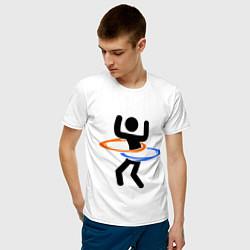 Футболка хлопковая мужская Portal Рoops цвета белый — фото 2