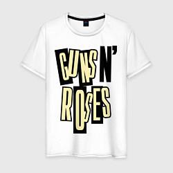 Футболка хлопковая мужская Guns n Roses: cream цвета белый — фото 1