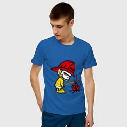 Футболка хлопковая мужская Ручной пожарник цвета синий — фото 2