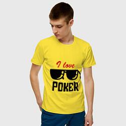 Футболка хлопковая мужская Я люблю покер цвета желтый — фото 2