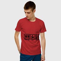 Футболка хлопковая мужская Плати, играй, конец игры цвета красный — фото 2