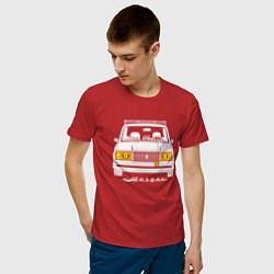 Футболка хлопковая мужская Жигули 2107 цвета красный — фото 2