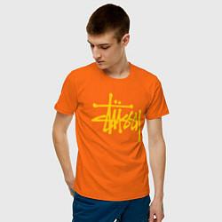Футболка хлопковая мужская STUSSY цвета оранжевый — фото 2