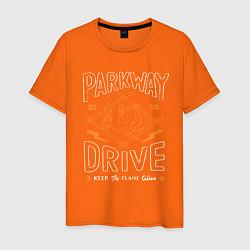 Футболка хлопковая мужская Parkway Drive: Keep the flame alive цвета оранжевый — фото 1
