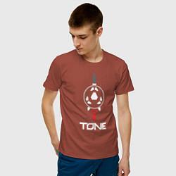 Футболка хлопковая мужская TONE цвета кирпичный — фото 2