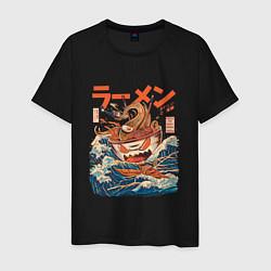 Футболка хлопковая мужская Great Ramen: Kanagawa цвета черный — фото 1