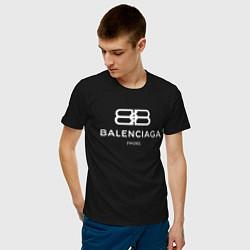 Футболка хлопковая мужская Balenciaga Paris цвета черный — фото 2