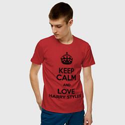 Футболка хлопковая мужская Keep Calm & Love Harry Styles цвета красный — фото 2