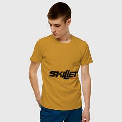 Мужская хлопковая футболка с принтом Skillet Comatose, цвет: горчичный, артикул: 10017327400001 — фото 2