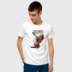 Футболка хлопковая мужская Checkmate цвета белый — фото 2