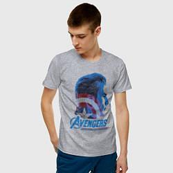 Футболка хлопковая мужская Captain America: Avengers цвета меланж — фото 2