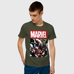 Футболка хлопковая мужская Avengers: Marvel Heroes цвета меланж-хаки — фото 2