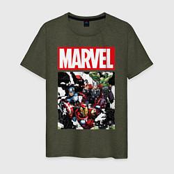 Мужская хлопковая футболка с принтом Avengers: Marvel Heroes, цвет: меланж-хаки, артикул: 10177712300001 — фото 1