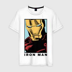 Мужская хлопковая футболка с принтом Iron Man, цвет: белый, артикул: 10178140300001 — фото 1