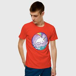Футболка хлопковая мужская Нарвал-единорог цвета рябиновый — фото 2