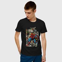 Мужская хлопковая футболка с принтом Spider-man comics, цвет: черный, артикул: 10180525100001 — фото 2