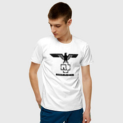 Футболка хлопковая мужская Rammstein Eagle цвета белый — фото 2