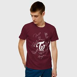 Футболка хлопковая мужская TWICE АВТОГРАФЫ цвета меланж-бордовый — фото 2