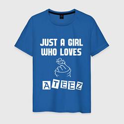 Мужская хлопковая футболка с принтом ATEEZ, цвет: синий, артикул: 10196142100001 — фото 1