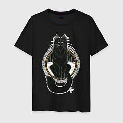 Мужская хлопковая футболка с принтом Йольский кот, цвет: черный, артикул: 10200871100001 — фото 1