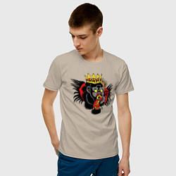 Мужская хлопковая футболка с принтом Тату как у Конор Макгрегор, цвет: миндальный, артикул: 10203882900001 — фото 2