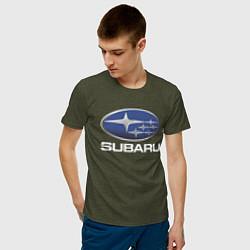 Футболка хлопковая мужская SUBARU цвета меланж-хаки — фото 2