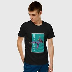 Футболка хлопковая мужская Евангелион цвета черный — фото 2