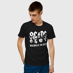 Мужская хлопковая футболка с принтом ACDC Highway to Hell, цвет: черный, артикул: 10211550500001 — фото 2