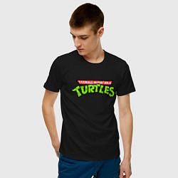 Футболка хлопковая мужская Черепашки-ниндзя цвета черный — фото 2