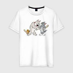Футболка хлопковая мужская Tom & Jerry цвета белый — фото 1