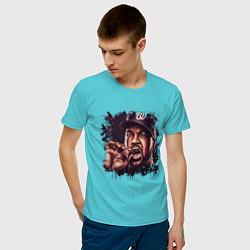Футболка хлопковая мужская Ice Cube цвета бирюзовый — фото 2