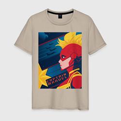 Футболка хлопковая мужская Капитан Марвел Мстители цвета миндальный — фото 1