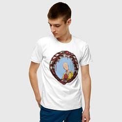 Мужская хлопковая футболка с принтом One-Punch Man, цвет: белый, артикул: 10220205100001 — фото 2