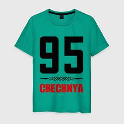 Футболка хлопковая мужская 95 Chechnya цвета зеленый — фото 1