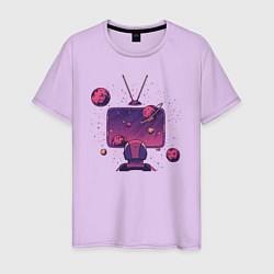 Футболка хлопковая мужская Космический телевизор цвета лаванда — фото 1